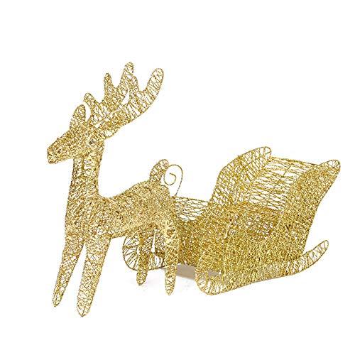 YANXS Weihnachten Deko Beleuchtet LED Rentier mit Schlitten Warm Weiß Metall Eisen Rahmen für Innen Außen,60cm,Gold