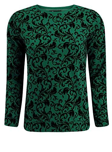 oodji Ultra Damen Sweatshirt mit Flock-Druck, Grün, DE 36 / EU 38 / S
