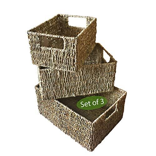Made Terra Cestas de Almacenamiento Seagrass para la organización y decoración del hogar | Cestas de Mimbre para estantes con Asas de inserción (pastos Marinos Naturales)