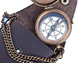 Engravable Compass Nautical Pocket Brass Compass with Leather Carry Case, Boy Scouts Compass, Eagle Scout Compass, Pirates Compass, Camping Compass, Gift Compass