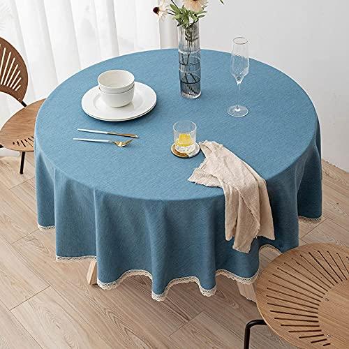 XQSSB Rectangular Mantel de Impermeable Estilo Moderno Sabana de Algodon Tamaño Seleccionable de Cocina Salón Azul 160cm de Diámetro Redondo