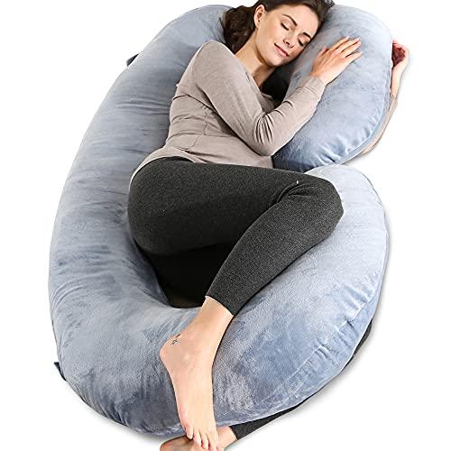 Chilling Home Almohada en Forma de C, Almohada para el Embarazo con Funda de Felpa, Almohada para Todo el Cuerpo para Mujeres Embarazadas (140x70cm,Gris)