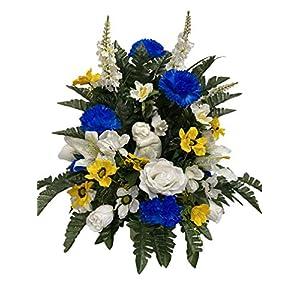 Angel Cemetery Flower Arrangement, Headstone Vase Insert, Grave, Cone Insert, Tombstone vase Arrangement, Cemetery Flowers CC4619