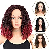 ATRAENTE Short Wigs for Women Braided Wigs,14' Short Wigs Dreadlock Wig Half Wigs for Black Women, Natural Synthetic Curly Hair Wigs Burgundy Wig with Wig Cap(1B/bug)