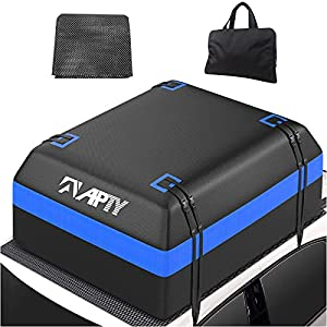 APTY Car Roof Top Bag Cargo Carrier, 15 Cubic Feet Soft Rooftop Luggage Bag, Premium 750D PVC, Waterproof Zip, with Anti-Slip Mat + Storage Bag, for All Vechicles SUV with/Without Rack, SM001