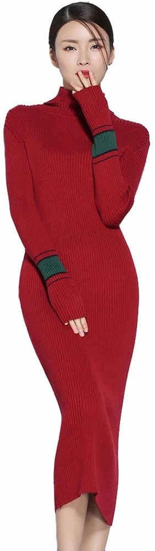 Casual Cashmere Women Long Sleeve Slim Fit autumn Winter Dress
