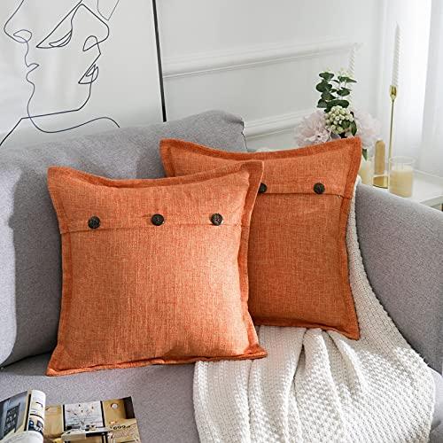 AllmarkHomes Fundas De Cojines Sofa Cojines Decorativos Funda Cojin 45x45 cm Cojines Sofa Para Sofa Con Cojines Fundas Almohadones (Naranja Set De 2)