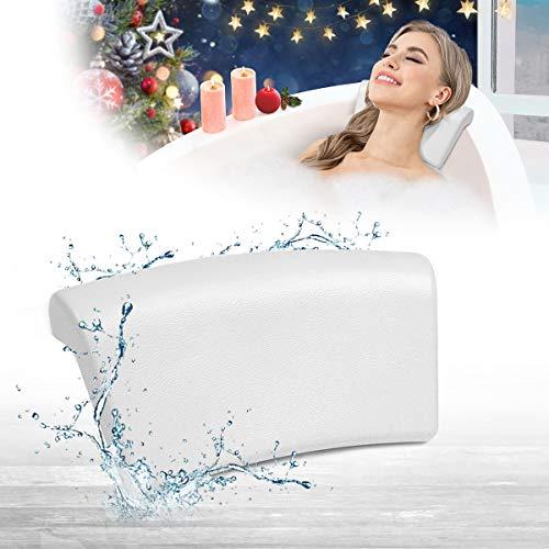 Essort Cojín para Bañera PU Almohada de Baño con Antideslizante Ventosas Soporte para Cabeza, Cuello y Espalda