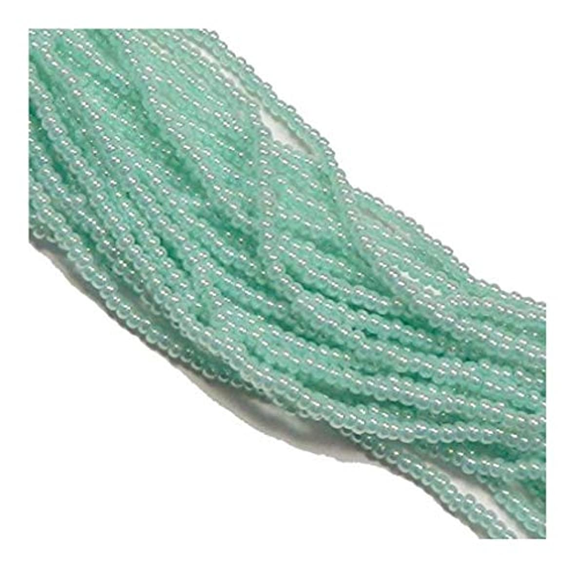 Green Ceylon Pearl Czech 6/0 Seed Bead on Loose Strung 6 String Hank Approx 900 Beads