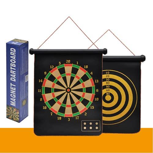 Juguete de Tablero de DARD Magnético Juguete de 2 Lados Roll Up Dartboard para niños y Adultos Interior Outdoor Colgando Dart Juegos con 6 Dardos magnéticos