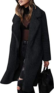 Womens Classic Fit Long Sleeve Faux Fur Shearling Shaggy Oversized Coat Fuzzy Jackets Warm Winter