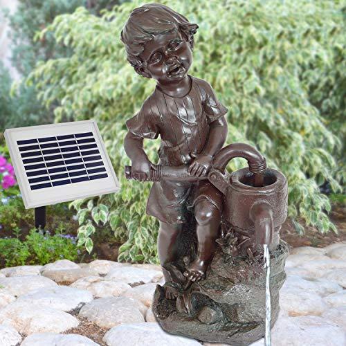 """Springbrunnen für den Garten, solarbetrieben, mit Pumpe, für Außenbereiche; Wasserspiel Motiv """"Schlingel"""" Set mit Solar-Pumpe für Teiche, Terrasse, Garten, aus Zinn"""
