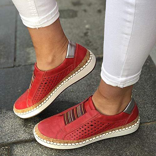 Shenykan Ropa a Juego para Hombre Zapatos Casuales Zapatos Masculinos Transpirables Zapatos de Gamuza Zapatos de Viaje de Moda para Exteriores Zapatillas de Deporte - Rojo - 38