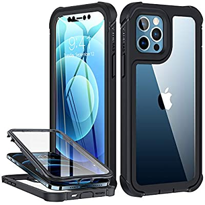 TORRAS Armor Series Compatible with iPhone 12 Case/Compatible with iPhone 12 Pro Case 6.1 Inch (2020 Release),Full Body with Built-in Screen Protector Rugged Shockproof Phone Case, Black