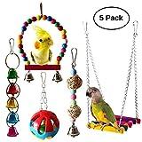 5pcs Jouets pour Les Oiseaux Balançoire Toy Pet Cage à Oiseaux Suspendu Cloche de Bois Suspendu Perch Toy Hammock pour Parrot, Canaries ou Cockatiel ou d'autres Oiseaux