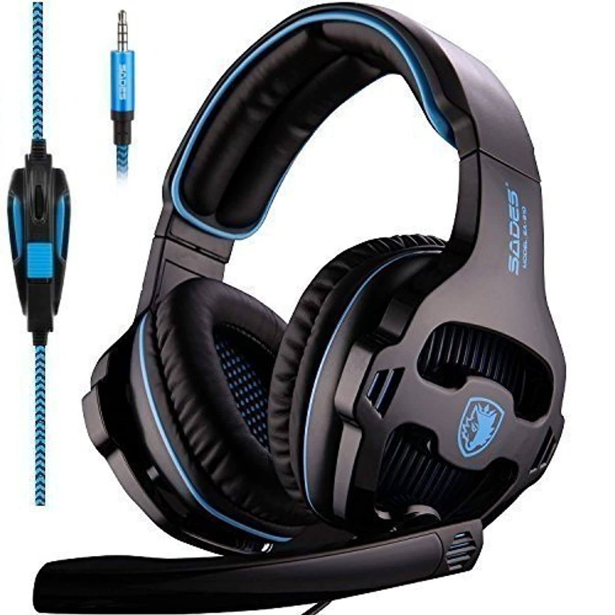 SADES SA810 Stereo Gaming Headset for Xbox One PC PS4 Over-Ear Headphones with Noise Canceling Mic Soft Ear Cushion 3.5mm Jack Cable for Mac Smartphone Laptop Tablet Blue