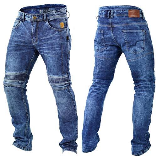 Trilobite Micas Motorrad-Jeans für Herren, im modernen Slim-Fit-Stil, Blau (Blue Washed), 34