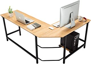 "AuAg L Shaped Desk, L Shaped Computer Desk, 66"" Corner Desk Gaming Desk with Free CPU Holder, PC Laptop Study Writing Table Workstation Desk for Home Office (66"" x 49"" x 29"", Wood)"
