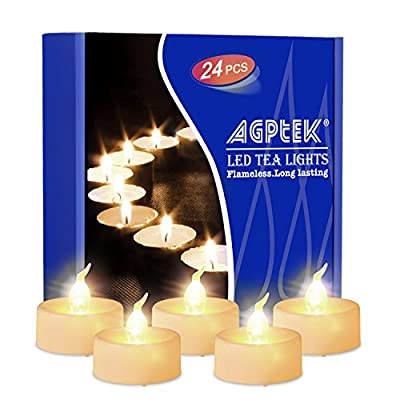 AGPTEK No Flicker Flameless LED Candles Battery-Operated Long Lasting Tealights for Wedding Holiday Christmas Party Home Decoration 24pcs