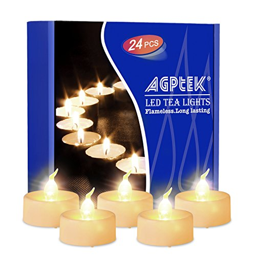 AGPTEK Timer Flickering Tea Lights 24 Pack Flickering LED Candles with Timer Battery Operated Flameless Tealight Candles for Wedding Holiday Party Home Decoration Warm White