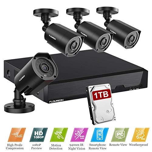 FLOUREON 8CH Système de Surveillance 5 in 1 TVI/AHD/CVI/CVBS/IP Caméra DVR 1080N Enregistreur Vidéo +...