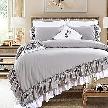 Queen's House Luxury Grey Duvet Cover Cotton...