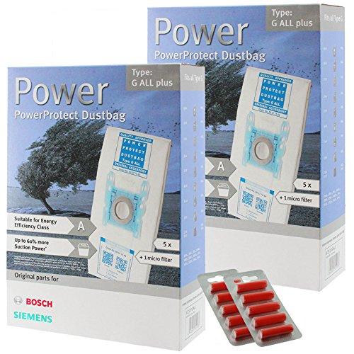 Bosch Typ G Original PowerProtect Microfasertuch Staubsaugerbeutel+Filter (10er Packung + 10 Erfrischung)