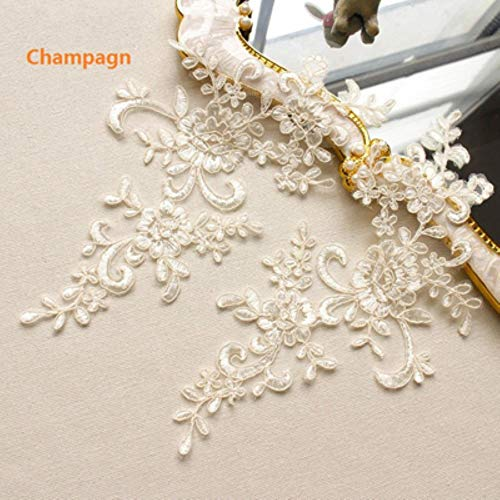 10st 25 * 12.5cm geborduurde kant applique kanten rand voor diy trouwjurk vele kleuren naar keuze, champagne