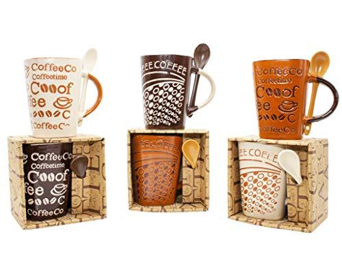 """Lote de 12 Tazas de Cerámica Decorativas con Cuchara""""Coffee"""" (Surtidas) en Caja. Recuerdos. Regalos Originales. Detalles de Bodas, Comuniones, Bautizos, Cumpleaños. DC"""