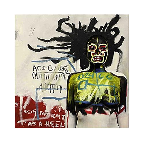 《Autorretrato como talón》 Jean-Michel Basquiat Cuadro en Lienzo| Lienzos Decorativos | Cuadros Decoración Dormitorios | Cuadros Decoración Salón (70x70cm (28x28inch), Sin marco)