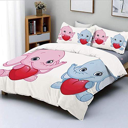 Juego de funda nórdica, rosa y azul, elefantes infantiles para niños con corazones, gemelos sonrientes decorativos Juego de cama decorativo de 3 piezas con 2 fundas de almohada, rosa pálido, azul, bla