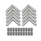 BQLZR derecho ángulo forma plata acero al carbono interior esquina conector conjunto soporte para perfil de extrusión de aluminio 2020 Serie Ranura 6 mm Pack de 10