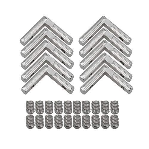 bqlzr rechts Winkel Form Silber Carbon Stahl Die Eckverbinder Gelenk Halterung für Aluminium Extrusion Profil 2020Serie Slot 6mm 10Stück