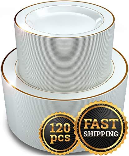 CR 120 Pieces for 60 guests, Set Elegant Disposable Plastic Plates Gold Rim White, 60- Dinner Plates, 60- Dessert Plates, Heavy duty Premium Plates for Party Wedding Occasions Fancy, Reusable