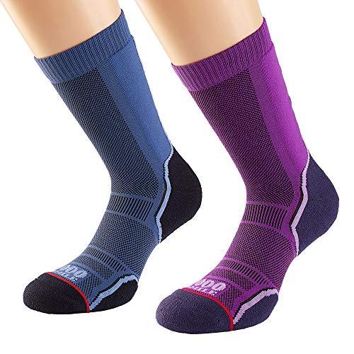 1000 Mile Lot de 2 Paires de Chaussettes de randonnée pour Femme M Bleu Marine/Violet