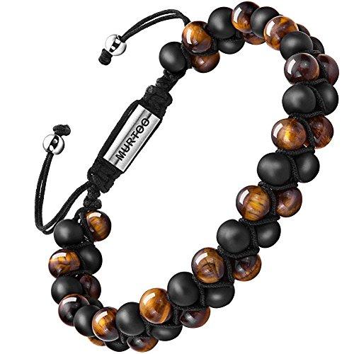 Armband Männer Perlenarmband Stein Armband mit einstellbar Verschluss Parfum Diffusor,7''-9'' Perfektes Geschenk MEHRWEG (tigerauge mit kleine Onyx)
