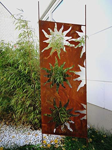Zen Man Edelrost Garten Sichtschutz aus Metall 1mm Rost Gartenzaun Gartendeko edelrost Sichtschutzwand H165*50cm 030935-3