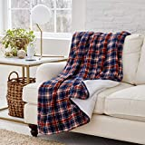 Eddie Bauer | Smart Heated Electric Throw Blanket - Reversible Sherpa - Hands Free Control - Wi-Fi Only (2.4GHz) - Compatible with Alexa, Google, iOS, Android - Glen Plaid Navy