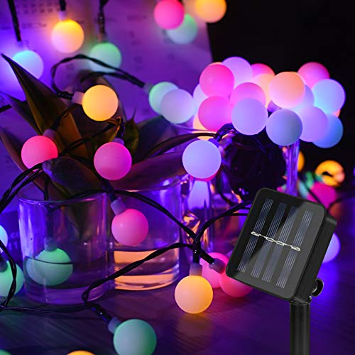 Solar Lichterkette Außen, Vivibel 60 LED Solar Kugel Lichterkette Aussen, 8 Modi IP65 Wasserdicht Bunt Solarbetriebene Lichterkette für Garten, Balkon, Hof, Hochzeit, Party Dekoration