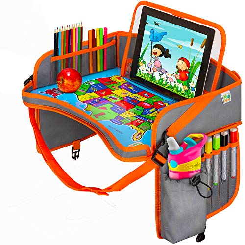 US Map Kids Car Seat Travel Tray - Carseat Organizer w/Dry Erase Board - Large Tablet & Cup Holder - Waterproof Food & Snack Kids Lap Tray Table - Road Trip Activities Toddlers & Big Kids for Years