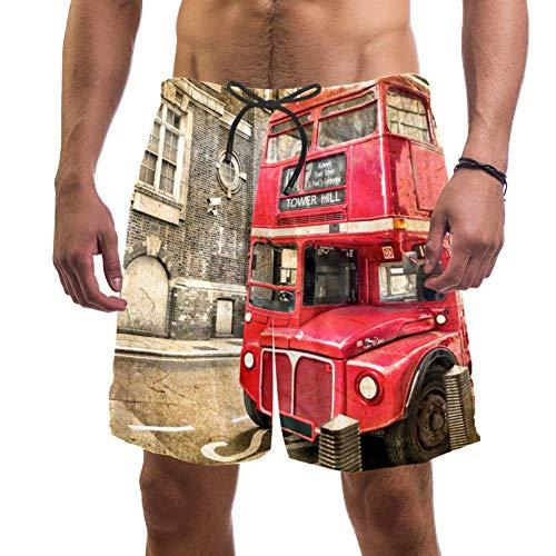 TIZORAX London Doppeldecker-Bus Herren-Badehose, schnelltrocknend, modisch, Freizeit-Badeanzug, Strandshorts mit Taschen Gr. L/XL, mehrfarbig