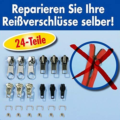 Unbekannt Reißverschluss Reparatur Set 24 Teilig Zipper Schieber Metall Reparier-Set