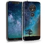 kwmobile Motorola Moto G7 Play (EU-Version) Hülle - Handyhülle für Motorola Moto G7 Play (EU-Version) - Handy Case in Galaxie Baum Wiese Design Blau Grau Schwarz