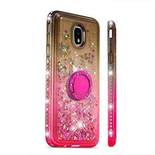 Ze Winkelen Voor Samsung Galaxy J3 2018 Vloeibare Glitter Ring Stand Case, Samsung Galaxy J7 2018, Grijs Roze