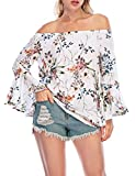 Women's Sexy Off The Shoulder Tops Floral Print Elastic Neckline Flare Sleeve T-Shirt Blouses