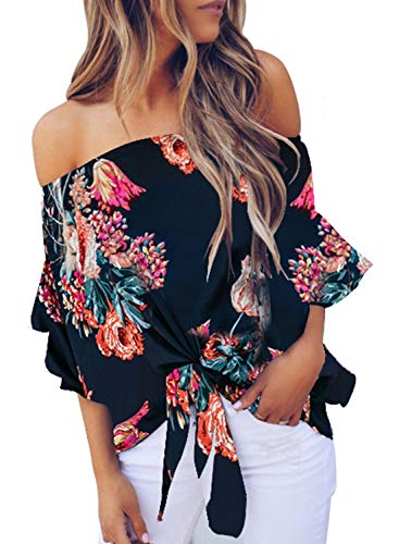 Asvivid Woman Tops Off The Shoulder Blouses for Women 3/4 Flared Bell Sleeve Floral Tops Tie Knot Summer Shirts L Blue