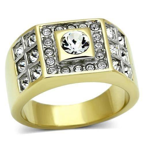 Yourjewellerybox - Anillo con detalle de diamante falso - para hombres - 18ct bañado en oro amarillo, talla 28,5 (21,81 mm)