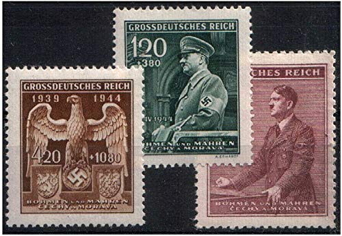 CZ 1944 TRIO of 3 RARE NAZI OCCUPIED BOHEMIA MORAVIA STAMPS w SWASTIKA or HITLER! BUY 2 LOTS GET 8 STAMPS!! Mint Never Hinged Fully Gummed