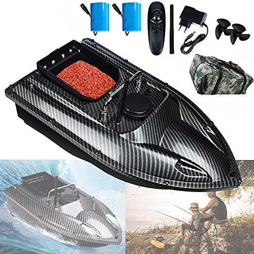 Futterboot Köderboot mit GPS, Ferngesteuerte Boote für Angeln, RC Boot Futterboot mit Doppelpropeller und LED-Licht für Teiche und Seen, (Enthält Antenne, Batterie und Tasche)