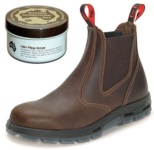 Redback RedbacK UBJK Work Boots aus Australien - Unisex + 250 ml Lederpflege | Jarrah-Brown | UK 4.5 / EU 37.5